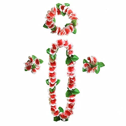 Set di Ghirlande Hawaiane, Collana di Ghirlande, Bracciale, Copricapo, Utilizzato per Decorazioni Per Feste in Spiaggia, Accessori per Vestire Eventi Festivi