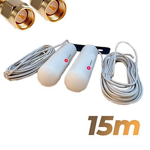 Antena yagi 46dbi 4G Conector SMA Blanca 15 Metros Alta Potencia. Mejora y estabiliza señal. Largo Alcance. Tecnologia 4G...