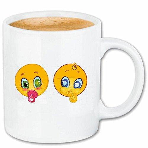 Reifen-Markt Kaffeetasse Zwei Baby Smiley MIT Schnuller Smileys Smilies Android iPhone Emoticons IOS GRINSE Gesicht Emoticon APP Keramik 330 ml in Weiß
