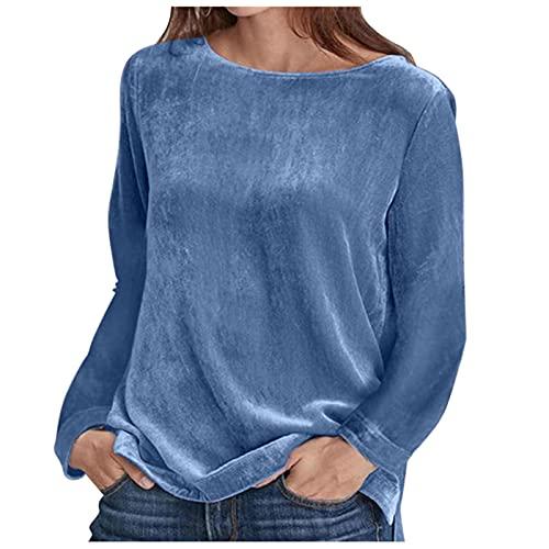 SHOBDW Sudadera Camisa de Manga Larga Mujer Terciopelo Pullover Moda Cuello O Liquidación Venta 2021 Nuevo Suéter Talla Grande Invierno Mujer(Azul,XXL)