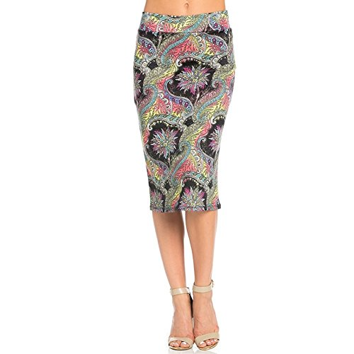 Women's Printed Below The Knee Pencil Skirt for Office Wear - Made in USA Floral Rainbow S