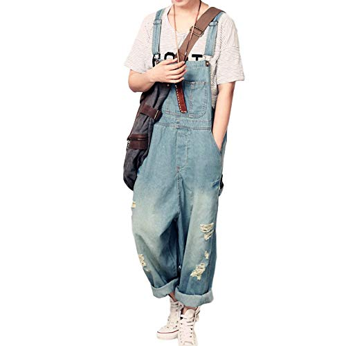 Luandge Overoles de Mezclilla para Mujer con Agujeros Streetwear Moda Lavado Desgastado Relajado Resistencia Casual Jeans Todas Las Estaciones S