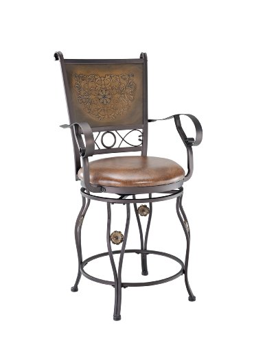 Powell Company Big and Tall Copper Stamped Back Counter Stool with Arms