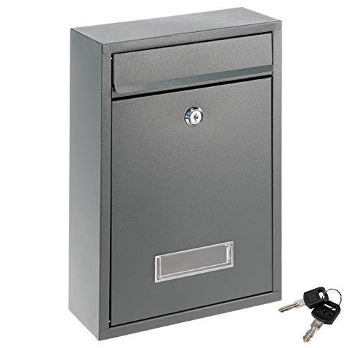Wand Briefkasten ELI Anthrazit Stahl pulverbeschichtet 2 Schlüssel Postkasten 22x32x8,2 cm mit Fach für Namensschild Postbox Briefbox