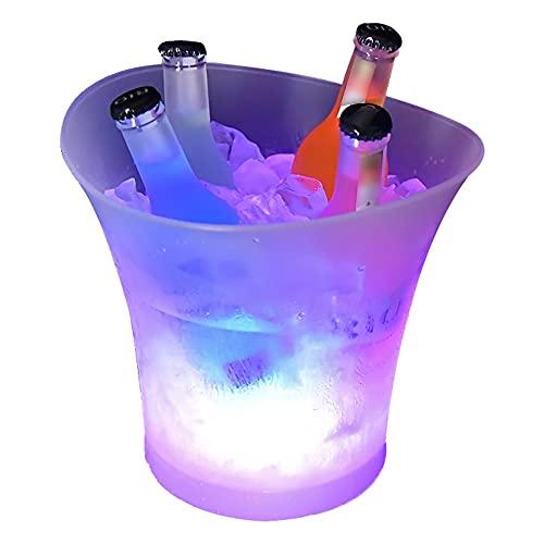 Cubitera 7 Colores DIRIGIÓ Nuevo plástico Impermeable 5l DIRIGIÓ Cubo de Hielo Barras de Color Revestimientos nocturnos DIRIGIÓ Light Up Champagne Beer Beam Bares Night Party Pared Doble