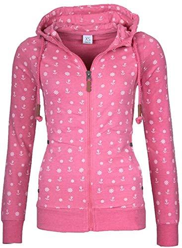 Newbestyle Sweatjacke Damen Pullover Jacke Hoodie V Ausschnitt Pulli Sweatshirt Kapuzenpullover Print Oberteile mit Kordel und Zip Rosa XXL