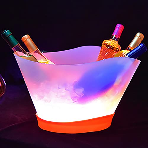 Cubitera Hielo LED - 7 Colores Gradiente Cambiante Luminoso PP Champagne Wine Drinks Cooler Bucket (12L), Ideal para Bar en Casa, Cerveza Fría, Champán Y Vino (1 Pieza)
