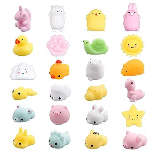 vita dennis Squishy Kawaii Set, 24 Stück Mini Tiere Relief Stress Squeeze Soft Silikon Party Netter Squishy Stress Relief Spielzeug langsame Rising Toys Kinderspielzeug für Jungen Mädchen