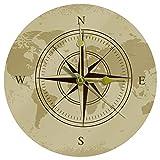 Yoliveya Reloj de pared redondo con brújula silenciosa, diseño de mapa náutico decorativo y silencioso para regalo, para el hogar, oficina, cocina, guardería, sala de estar, dormitorio, 25 cm