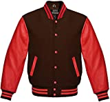 WUHONZS Men's Jacket Wool and Genuine Red Leather Sleeves College Bomber Jacket