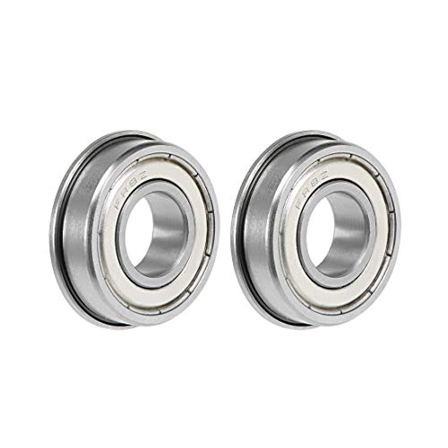 "uxcell FR8ZZ Flange Ball Bearing 1/2""x1-1/8""x5/16"" Double Shielded Chrome Steel Bearings 2-Pack"