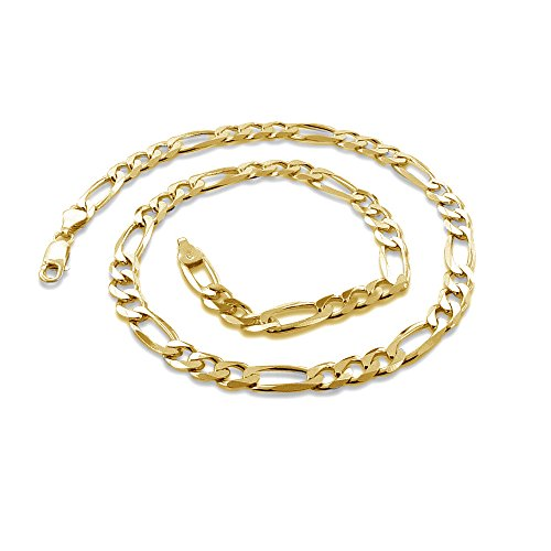 """18 Karat Yellow Gold 2.7mm Figaro Link Chain Necklace - 3+1 Link - Made In Italy- 24"""""""