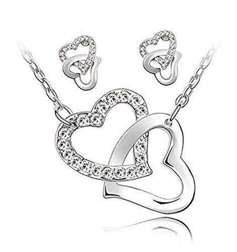 GUICAMI Conjuntos Simples de Joyería de Plata Esterlina, Collar de Moda, Juego de Pendientes para Mujer, Accesorios de Joyería para Fiesta de Boda