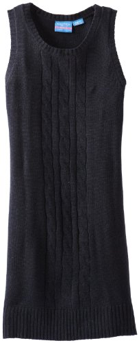 Nautica Big Girls' Uniform Cable Sweater Jumper, Su Navy,L(12-14)