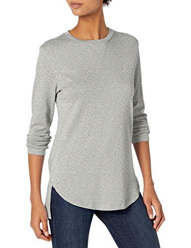 Amazon Brand - Daily Ritual Women's Cotton Modal Stretch Slub 3/4-Sleeve Tunic, Light Heather Grey, X-Large