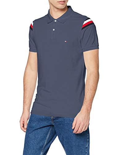 Tommy Hilfiger Herren Shoulder Gs Insert Slim Polo Poloshirt, Faded Indigo, M