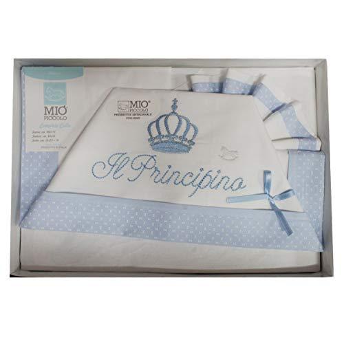 """Compose' Culla Lenzuola MIO PICCOLO Cotone ricamato""""principino""""""""Principessa"""" (celeste)"""