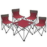 BIANGEY Mesa de Camping y sillas Plegables, Mesa de Picnic Plegable, 4 sillas y 1 Conjunto de Mesa, Adecuado para Camping Barbacoa, Fiesta de Piscina, jardín de Playa,Rojo