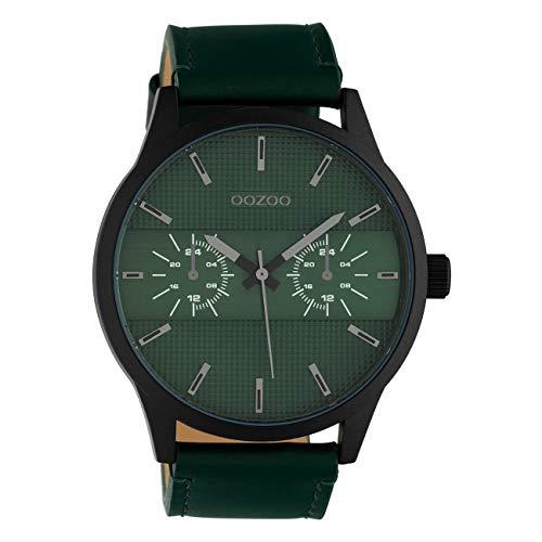 Oozoo C10537 - Orologio da uomo con cinturino in pelle, 48 mm, colore: Nero/Verde