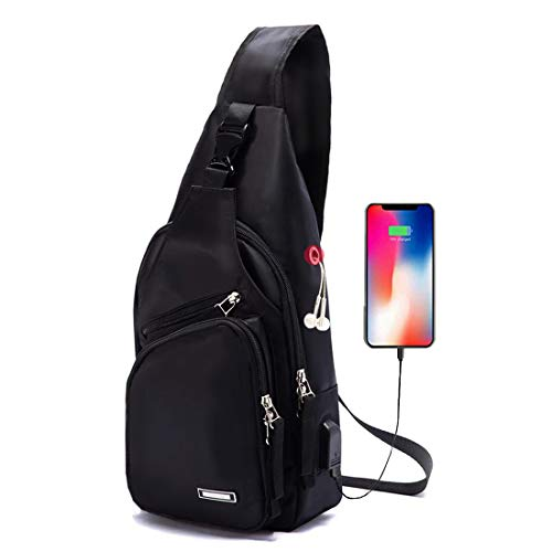 Men Women Sling Backpack Small Nylon Crossbody Shoulder Chest Bag with USB Charging Port Travel Pack Black