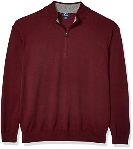 Cutter & Buck Men's Cotton-Rich Classic Lakemont Anti-Pilling Half-Zip Sweater, Bordeaux, 4X-Big