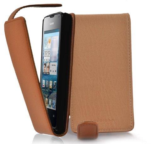 Cadorabo Hülle für Huawei Ascend Y300 in Cognac BRAUN - Handyhülle im Flip Design aus Strukturiertem Kunstleder - Hülle Cover Schutzhülle Etui Tasche Book Klapp Style