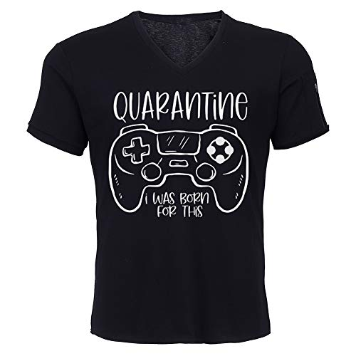 SUSSURRO I Paused My Game to Be Here Funny Gaming Gamer Sarcastica Party Camiseta unisex con cuello en V S-5XL Negro Negro (3XL