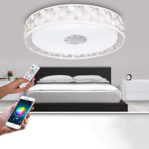 Muziek Plafondlamp met Bluetooth Speaker, Ø47CM Draadloze WiFi Smart LED Plafondlampen met Afstandsbediening, Iron Openwork Diamond Plafondlamp voor Slaapkamer