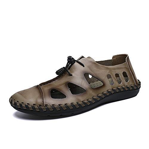 AIYASIWEI-SHOES Sandalias cómodas para hombres, cómodas, frescas y transpirables, con cordones elásticos, para exteriores, flexibles, Piel de microfibra., caqui, 39 UE