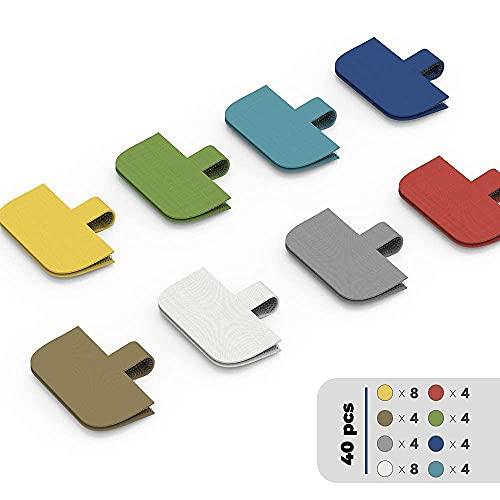 Etiqueta de cable, etiquetas de cable XIAOXI, etiquetas de cable, etiquetas de cable y etiquetas de alambre para gestión e identificación de cables, 40 unidades (multicolor)