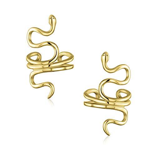 Helix Climber Crawler Snake Serpent Clip su filo avvolgente Cartilagine Lobe Ear Cuff Orecchini per donna Teen Men Non Pierced Ear 14K Oro Placcato 925 Sterling Silver Pair