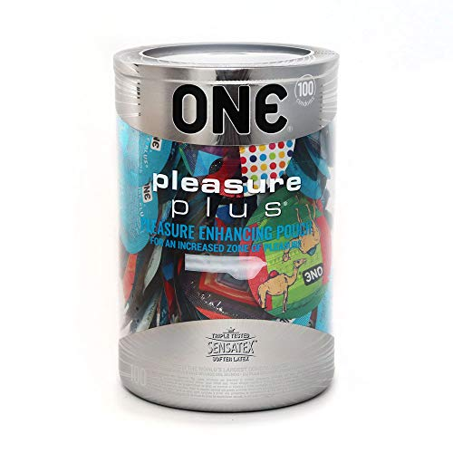 ONE Pleasure Plus Ultra Premium Lubricated Latex Condoms-100 Count Display Bowl