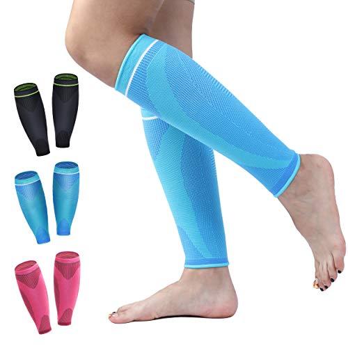 HiRui Calf Compression Sleeves, Calf Brace Shin Guards Calf Support Leg Compression Socks for Soccer Cycling, Shin Splint, Varicose Vein, Calf Pain Relief, Travel Nurses Runners (Pair) (Blue, M)