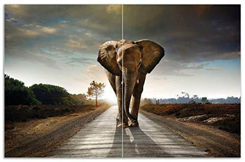 Wallario Herdabdeckplatte/Spritzschutz aus Glas, 2-teilig, 80x52cm, für Ceran- und Induktionsherde, Motiv Elefant bei Sonnenaufgang in Afrika