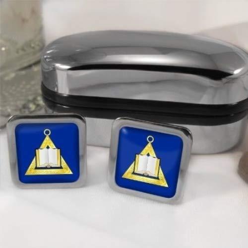 Chaplain d'un symbole maçonnique pour homme Boutons de manchette-Carré-Chromé-Coffret cadeau