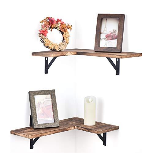 Olakee Corner Wall Shelves Rustic Wood Corner Floating Shelves for Bedroom Living Room Bathroom Kitchen Set of 2 Carbonized Black