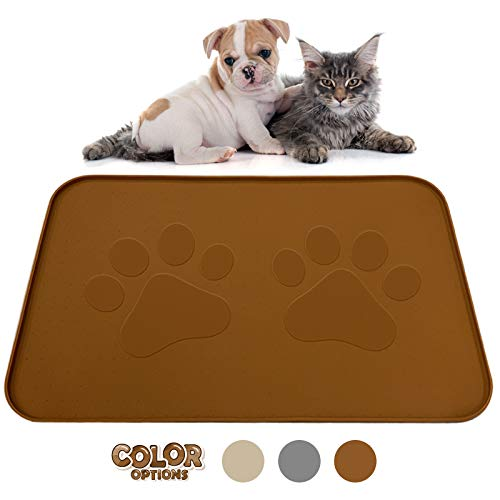 Extra Large Pet Feeding Bowl Mat with Logo - FDA Silicone - Hygienic and Safe for Allergic Dogs and Cats - Prevent Pet Water Food Spills - Spill Edge Protect Floor - Non Slip (Brown 22' by 14')