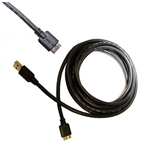 3 Meter USB 3.0 Sync- & Ladekabel für Western Digital My Passport Air Edge Ultra AV-TV Wireless Wi-Fi Slim & Fesplatten mit Micro-B Stecker schnelle Datenübertragung & schnelles Laden black