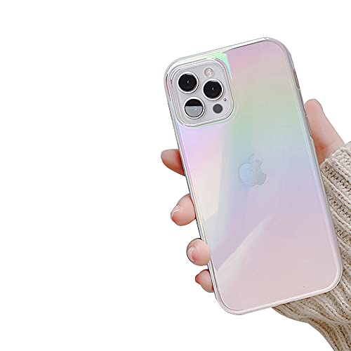 Ownest Compatible with iPhone 13 Pro Max Case 6.7 Inch [Not Fit 13 Pro] Colorful Clear Rainbow Glitter Bling Design TPU and PC Protection Case for Women Girls for iPhone 13 Pro Max-White