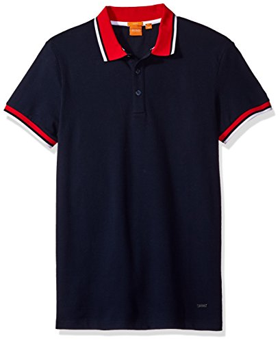 BOSS Orange Men's Pay Block Polo Shirt, Dark Blue, Large