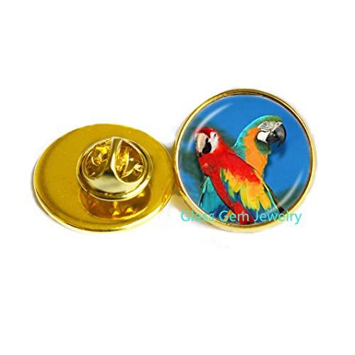 Papageien-Brosche Gold Aras Pin Vogel Schmuck Glas Cabochon Pullover Kette Brosche handgefertigt Schmuck für Tierliebhaber Q0258