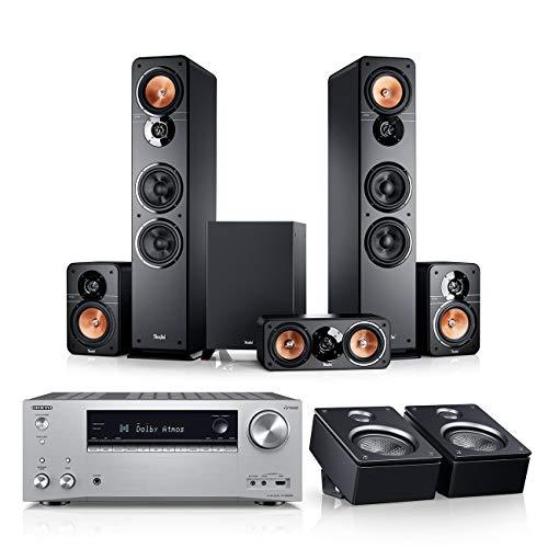 Teufel Ultima 40 Surround AVR für Dolby Atmos 5.1.2-Set Schwarz / Silber - Heimkino Lautsprecher 5.1 Soundanlage Kino Raumklang Surround Subwoofer