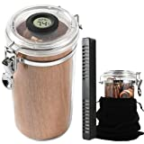 Cimidore Clear Acrylic Humidors.Travel Humidor Jar/Case.Airtight Sealed Humidors with Humidifier for Humidity Control.with Digital Hygrometer,Spanish Cedar Wood Lining.Stores About 10-15 Cigars.