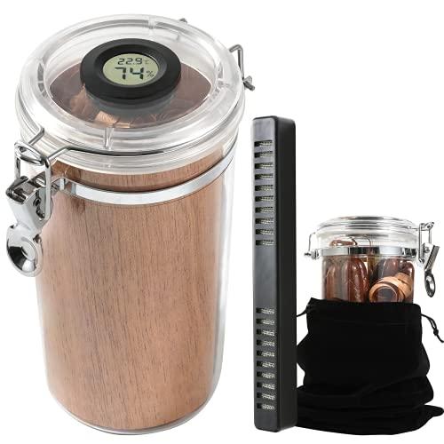 Cimidore Cigar Humidors Acrylic Humidors Jar with Spanish Cedar & Digital Hygrometer & Humidifier.Cigar Humidor Case for Travel.Humidor That can Hold(10-15 Cigars)