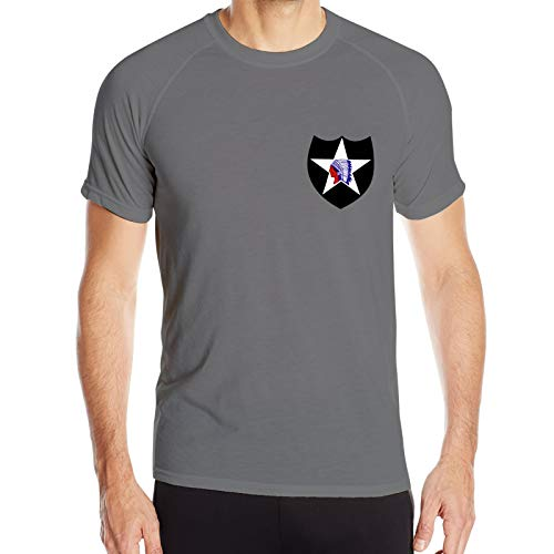 U.S. Army 2nd Infantry Division Men's Quick-Dry Crew Neck and Popular Short Sleeve T-Shirt for Cycling Deep Heather