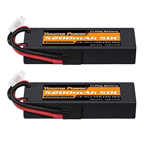 2s Lipo Battery, 7.4V RC Lipo Baterías 5200mAh 50C Estuche rígido con Conector Traxxas TRX para Losi Traxxas Slash Team Asociado RC Coche/Vehículo/Camión/Buggy (2 Paquetes)