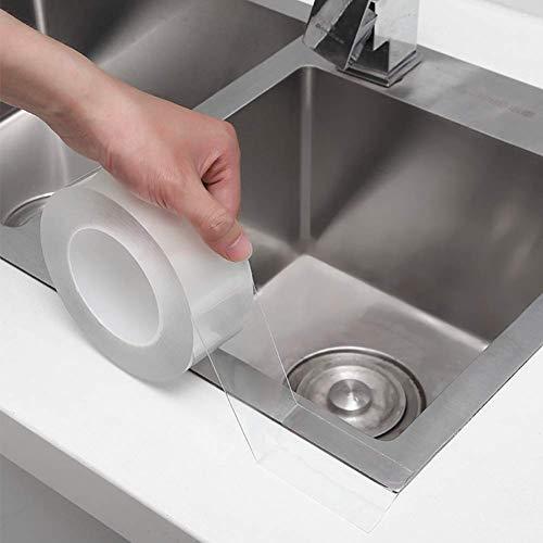 補修テープ 隙間テープ 防水テープ キッチンテープ トイレ隙間 防カビ 台所コーナーテープ 浴槽まわり ベランダ 洗面台用 透明な (室内装飾には影響しません) 養生テープ はがせる透明テープ 3cm*10m