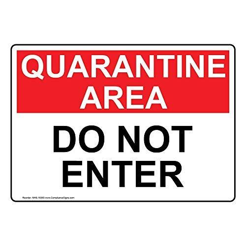 Cartello di quarantena con testo in inglese, bianco, adesivo di avvertimento in vinile, 25,4 x 17,8 cm