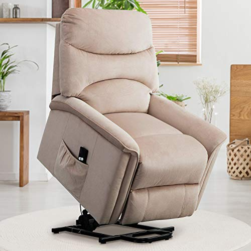 GOOD & GRACIOUS Power Lift Chair Electric Recliner Sofa for Elderly Heavy Duty and Soft Fabric Sleep Lift Chair with Remote Control for Living Room 3 Positions 2 Side Pockets Buff