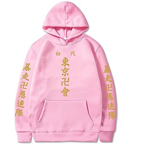Yokbeer Sudaderas con Capucha de Anime Tokyo Revengers Harajuku Sudaderas con Capucha Sueltas Mujeres Hombres Jerseys Casuales de Lana Sudadera de Otoño e Invierno (Color : Pink, Size : M)